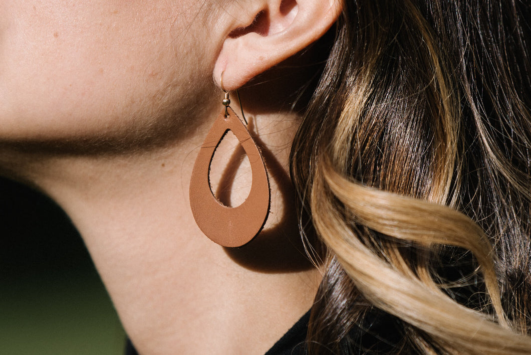 Tan Teardrop Leather Earrings 1