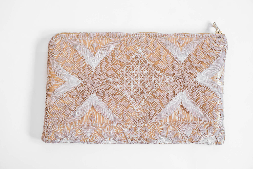 Back of Gold Embroidered Clutch