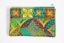 Load image into Gallery viewer, Back of Green Embroidered Clutch