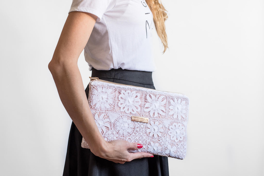 White Hand embroidered clutch
