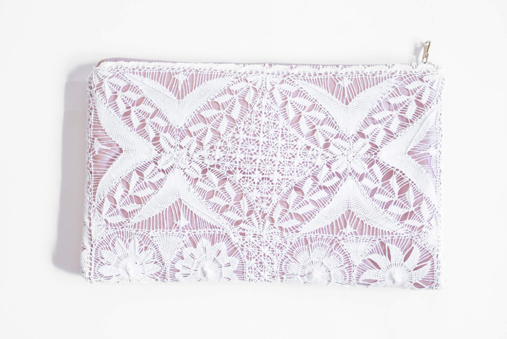 Back of White Embroidered Clutch