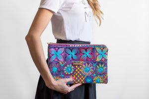 Hand Embroidered Lace Clutch