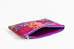 Interior of Embroidered Clutch