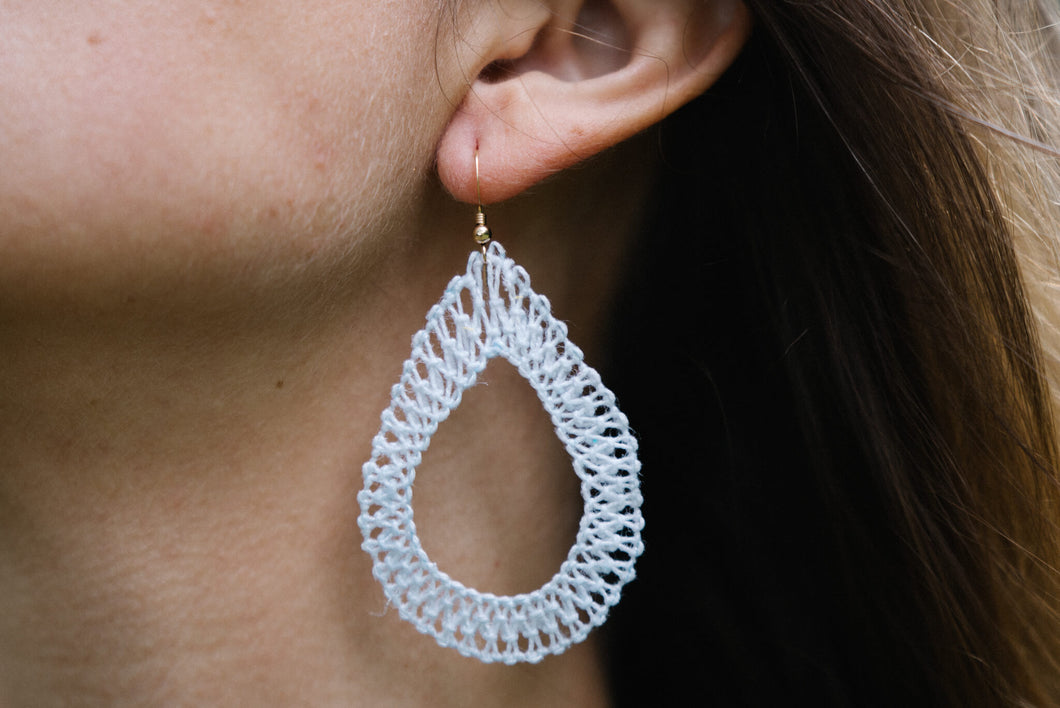 White Ñanduti Teardrop Earrings