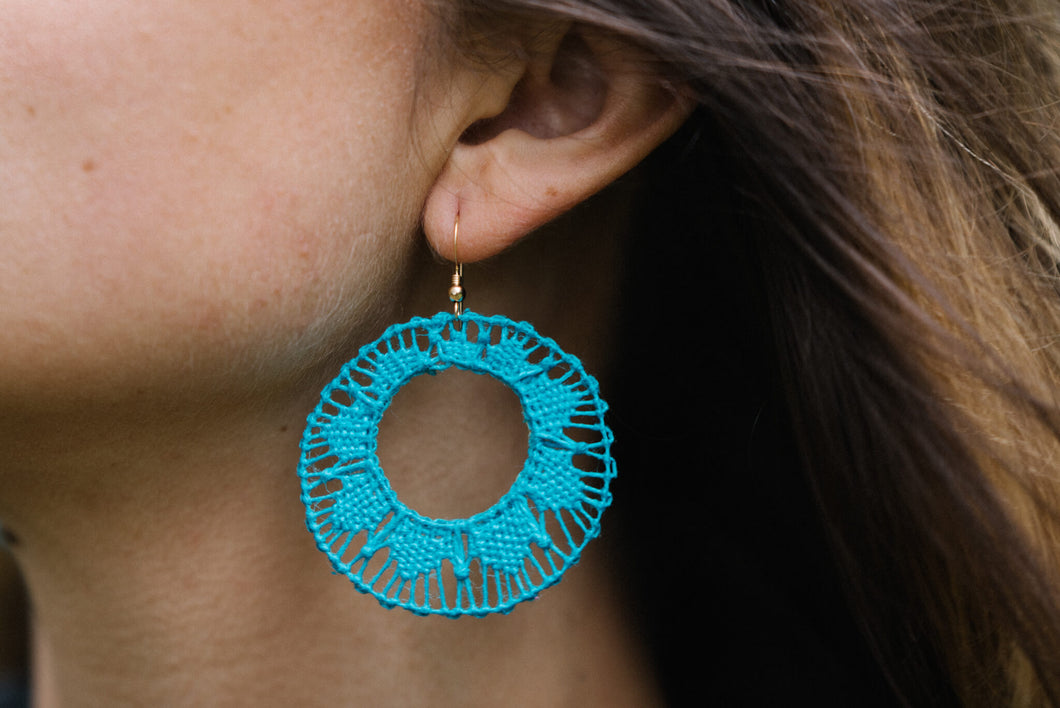 Turquoise Ñanduti Hoop Earrings