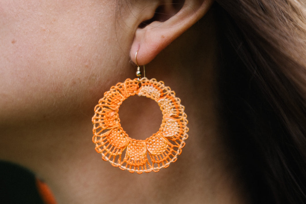 Orange Ñanduti Hoop Earrings