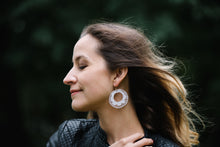 Load image into Gallery viewer, White Ñanduti Hoop Earrings