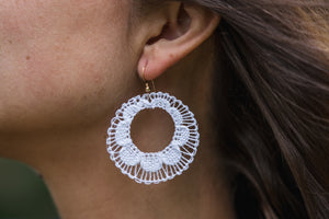 White Ñanduti Hoop Earrings