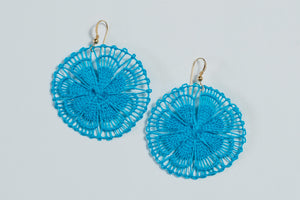 Turquoise Floral Ñanduti Round Earrings
