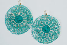 Load image into Gallery viewer, Seafoam Green Ñanduti Round Earrings