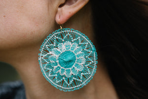 Seafoam Green Ñanduti Round Earrings