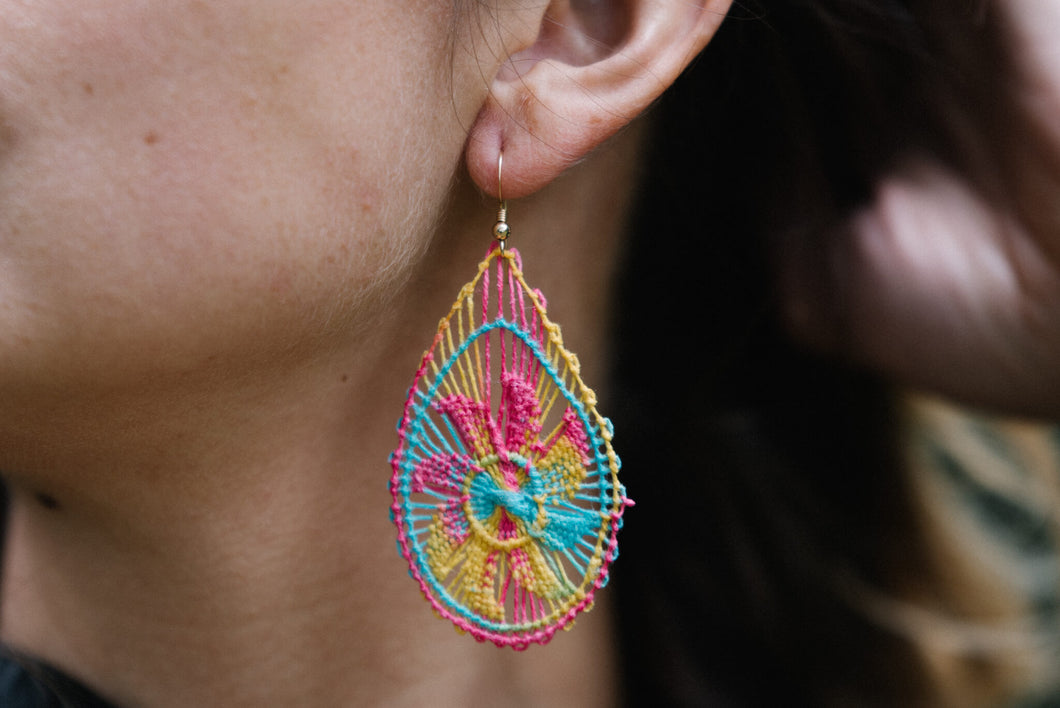 Multicolored Ñanduti Teardrop Earrings
