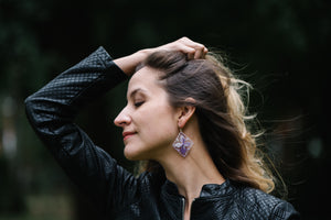 Lilac Ñanduti Geometric Earrings