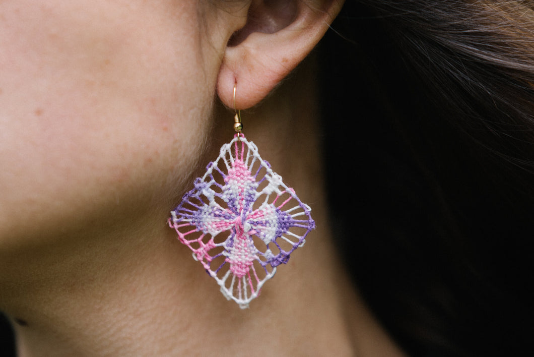 Pink and Purple Ñanduti Geometric Earrings