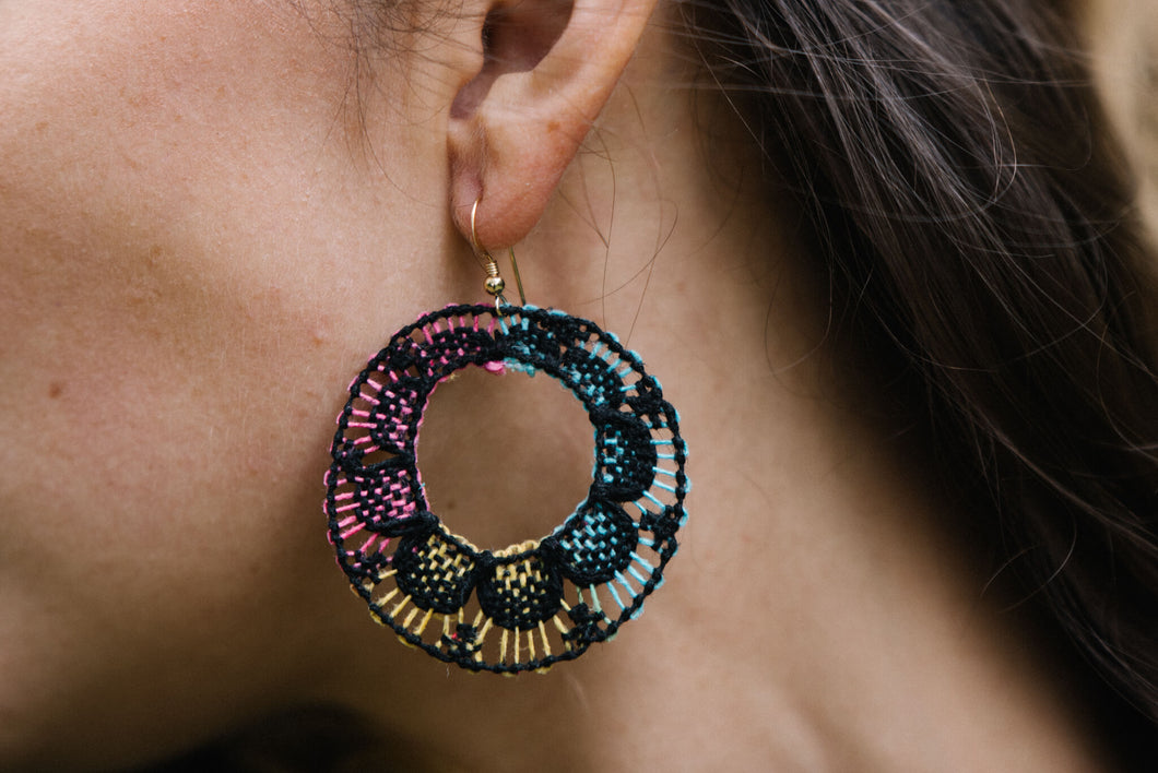 Multicolored Ñanduti Hoop Earrings