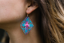 Load image into Gallery viewer, Turquoise and Pink Ñanduti Geometric Earrings
