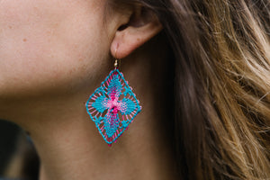 Turquoise and Pink Ñanduti Geometric Earrings