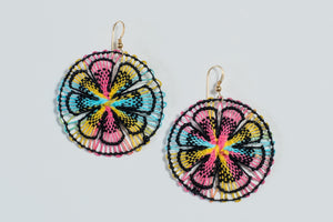 Rainbow Ñanduti Round Earrings