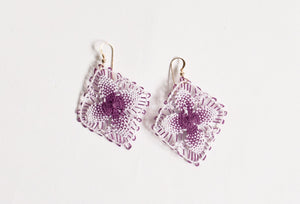 Dark Purple and White Geometric Ñanduti Earrings