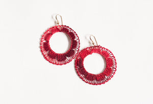 Red Hoop Ñanduti Earrings