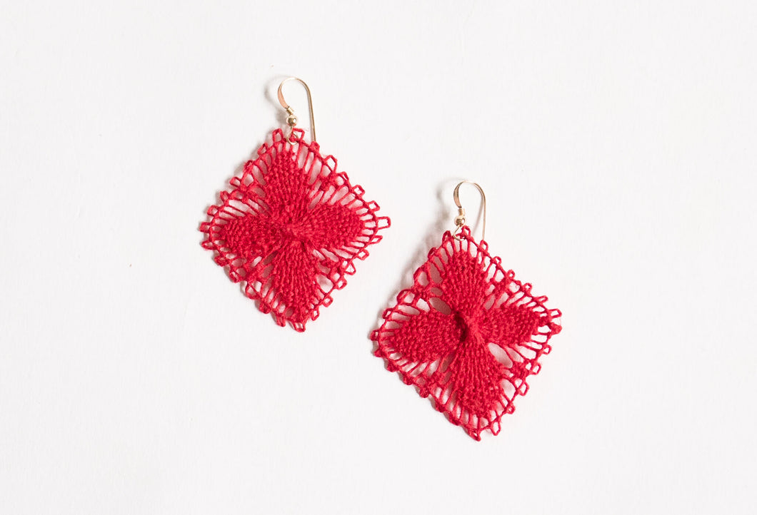 Red Geometric Ñanduti Earrings