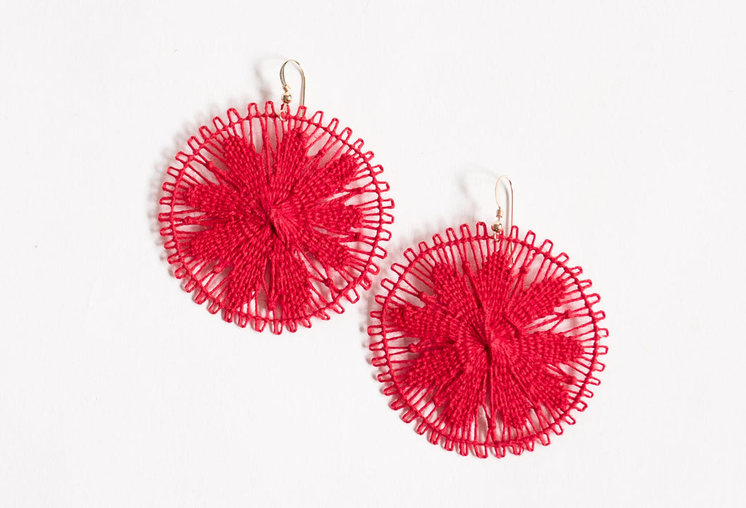 Red Round Ñanduti Earrings