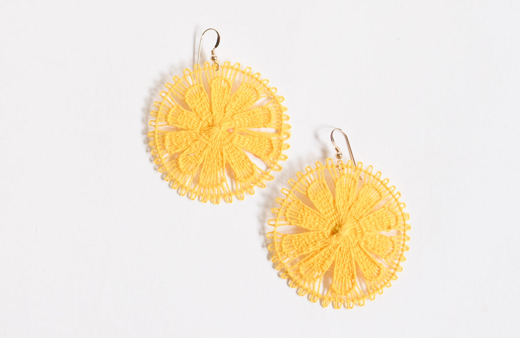 Yellow Round Ñanduti Earrings