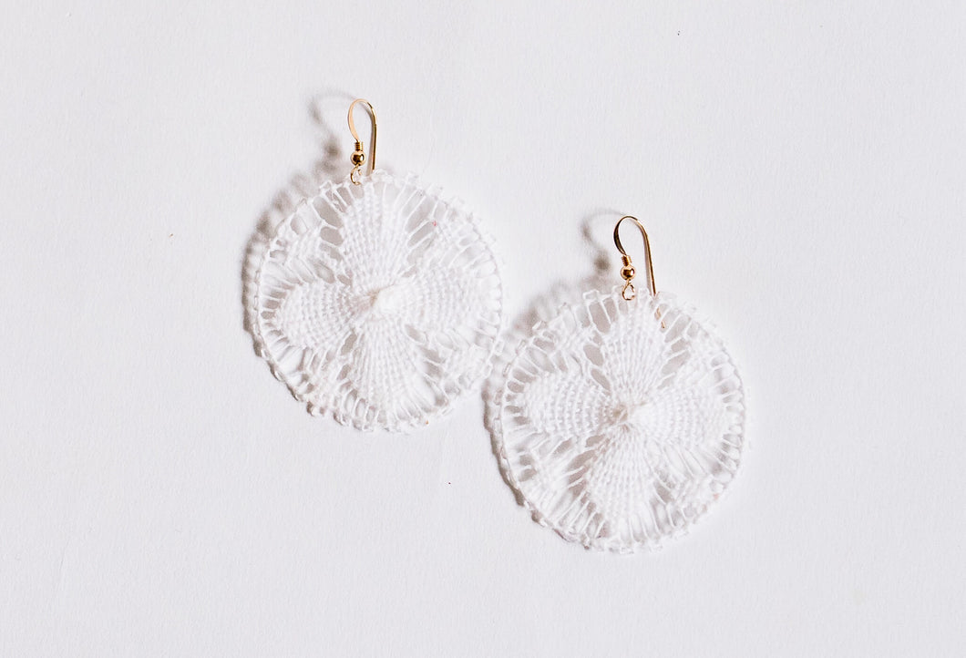 White Round Ñanduti Earrings