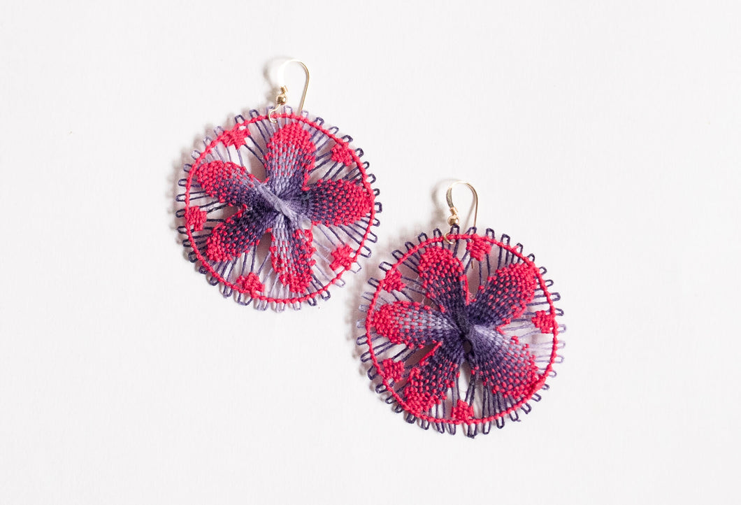 Pink + Purple Round Ñanduti Earrings