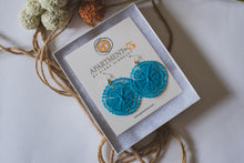 Load image into Gallery viewer, Turquoise Floral Ñanduti Round Earrings