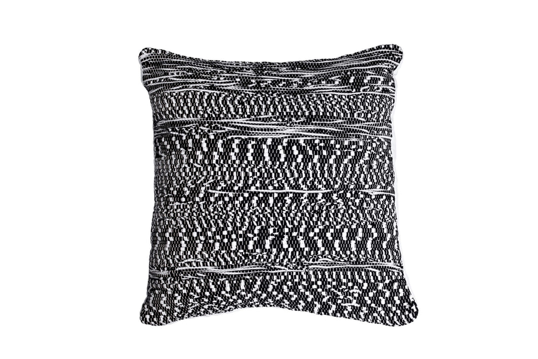 White and Black Abstract Trapo Pillow Cover | 20 x 20