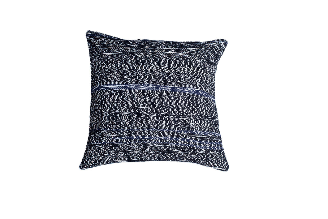 Blue and Black Striped Textured Throw Pillow