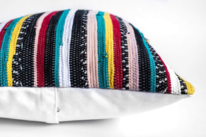 multicolored striped pillow