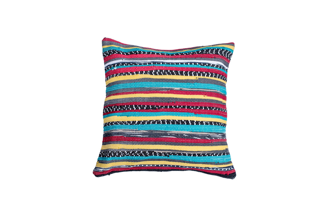 Multicolor Striped Textured Hand loomed Pillow