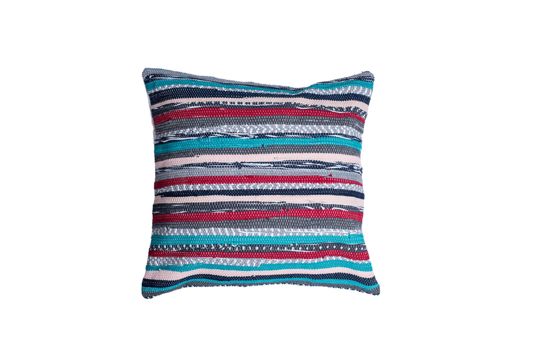 Multicolor Striped Hand loomed Pillow