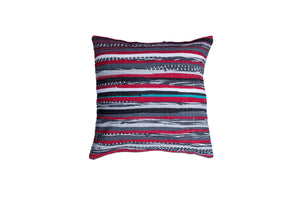 Grey, pink, red, blue Striped pillow
