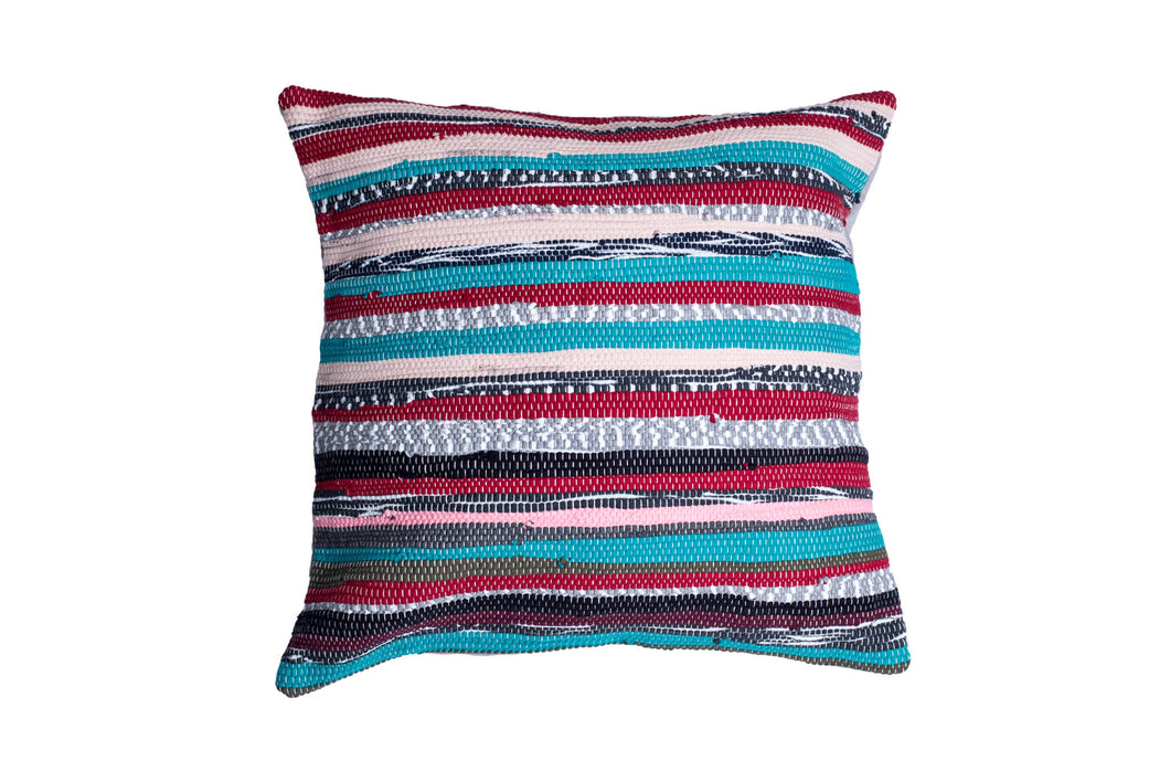 Green and Pink Stripes Trapo Pillow Cover | 20 x 20