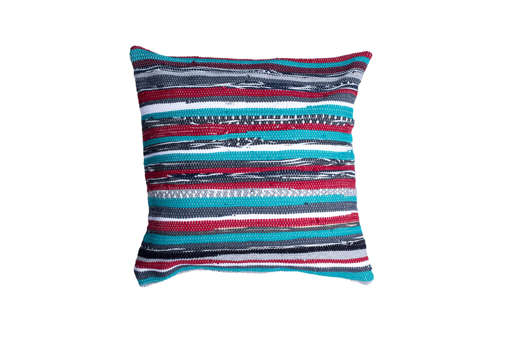 Green Striped Multicolored Pillow