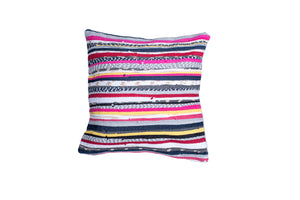 Pink and Yellow Tones Striped Pillow