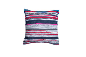 Pink, Blue, White and Grey Striped Throw Pillow