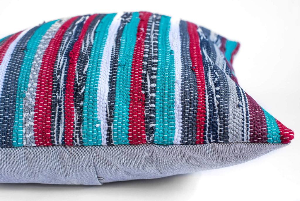 Hand woven striped pillow
