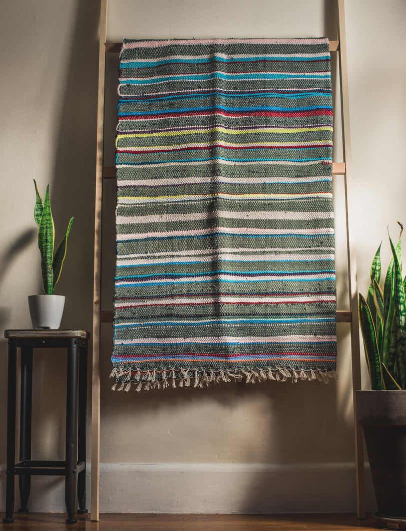 Turquiose and Green Hues Textured Blanket