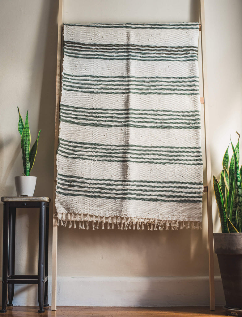 White and Moss Green Trapo Blanket
