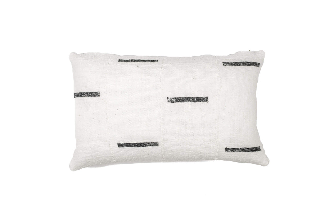 White With Black Dash Mud Cloth Pillow Cover 12'' x 20''