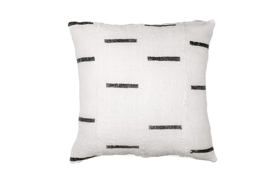 White With Black Dash Mud Cloth Pillow Cover 18'' x 18''