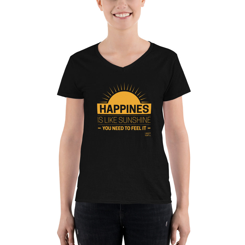 Women's Casual V-Neck Shirt - Happiness