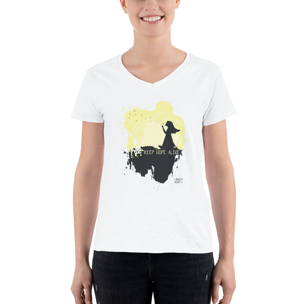 Women's Casual V-Neck Shirt - Keep Hope Alive