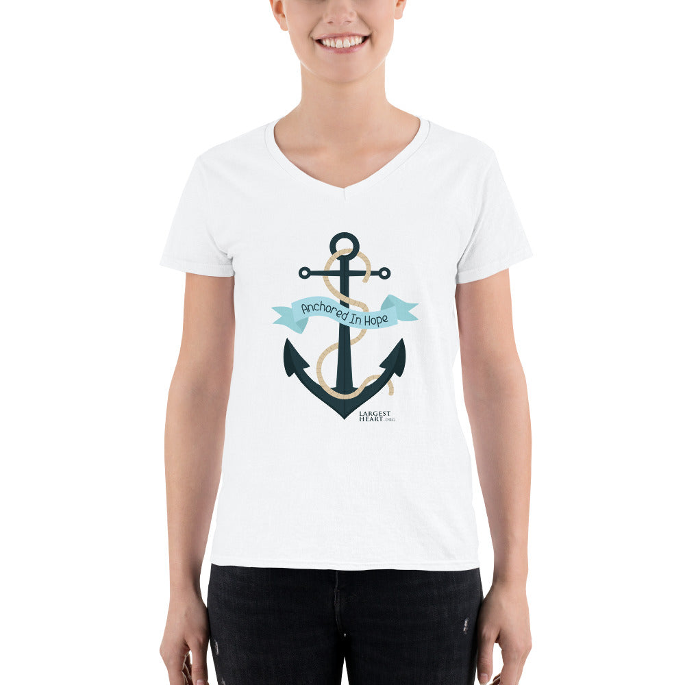 Women's Casual V-Neck Shirt - Anchored