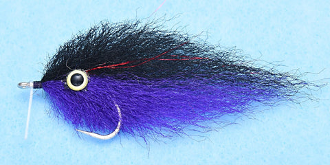 Peanut Butter - Black/Purple #2/0 // Saltwater Baitfish Fly by Enrico Puglisi