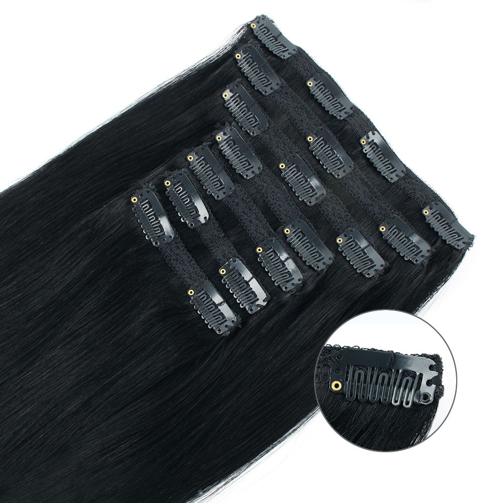 Clip In Human Hair Extensions Jet Black 1#